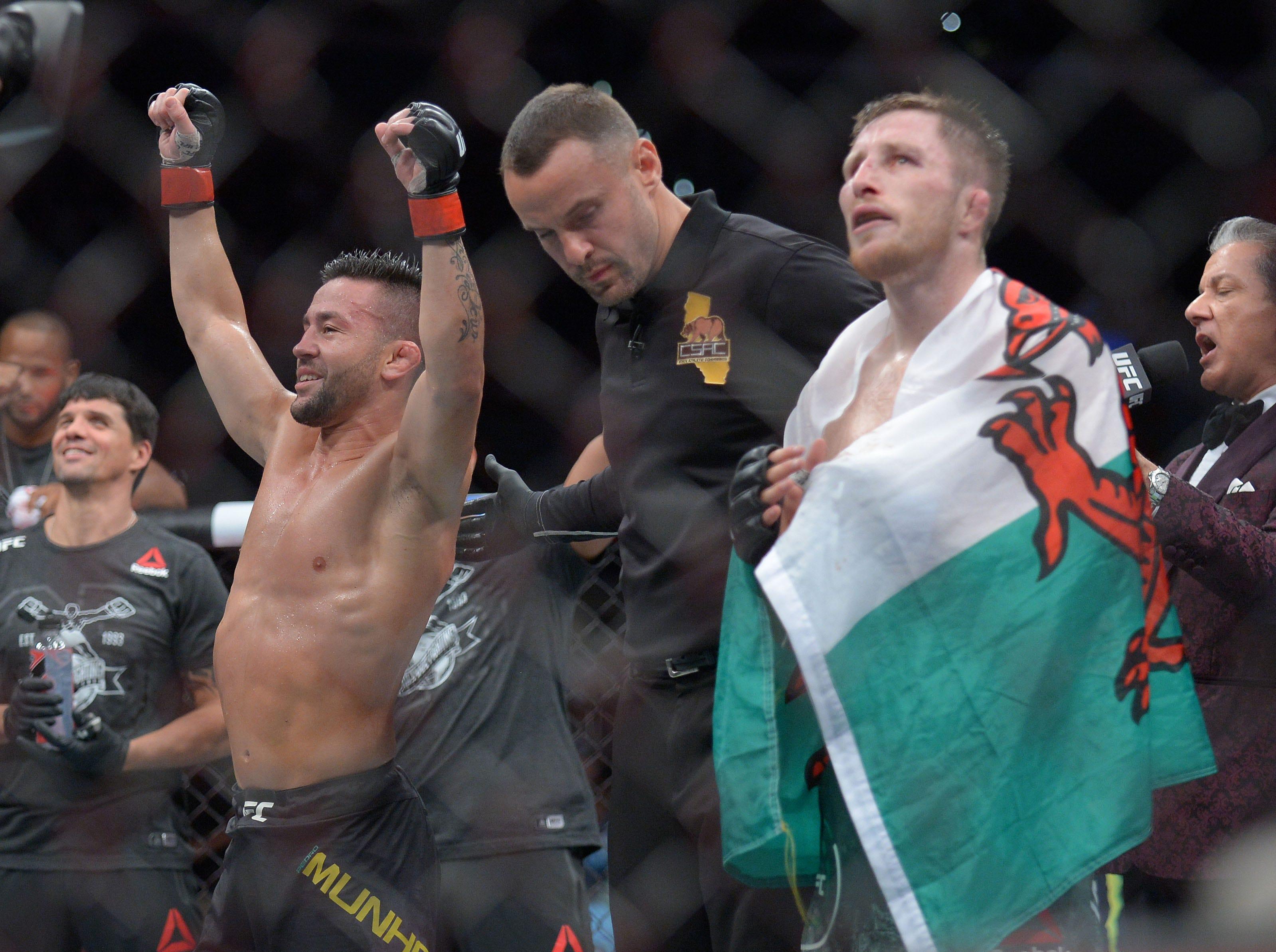 Pedro Munhoz is declared the winner against Brett Johns by decision during UFC 227 at Staples Center.