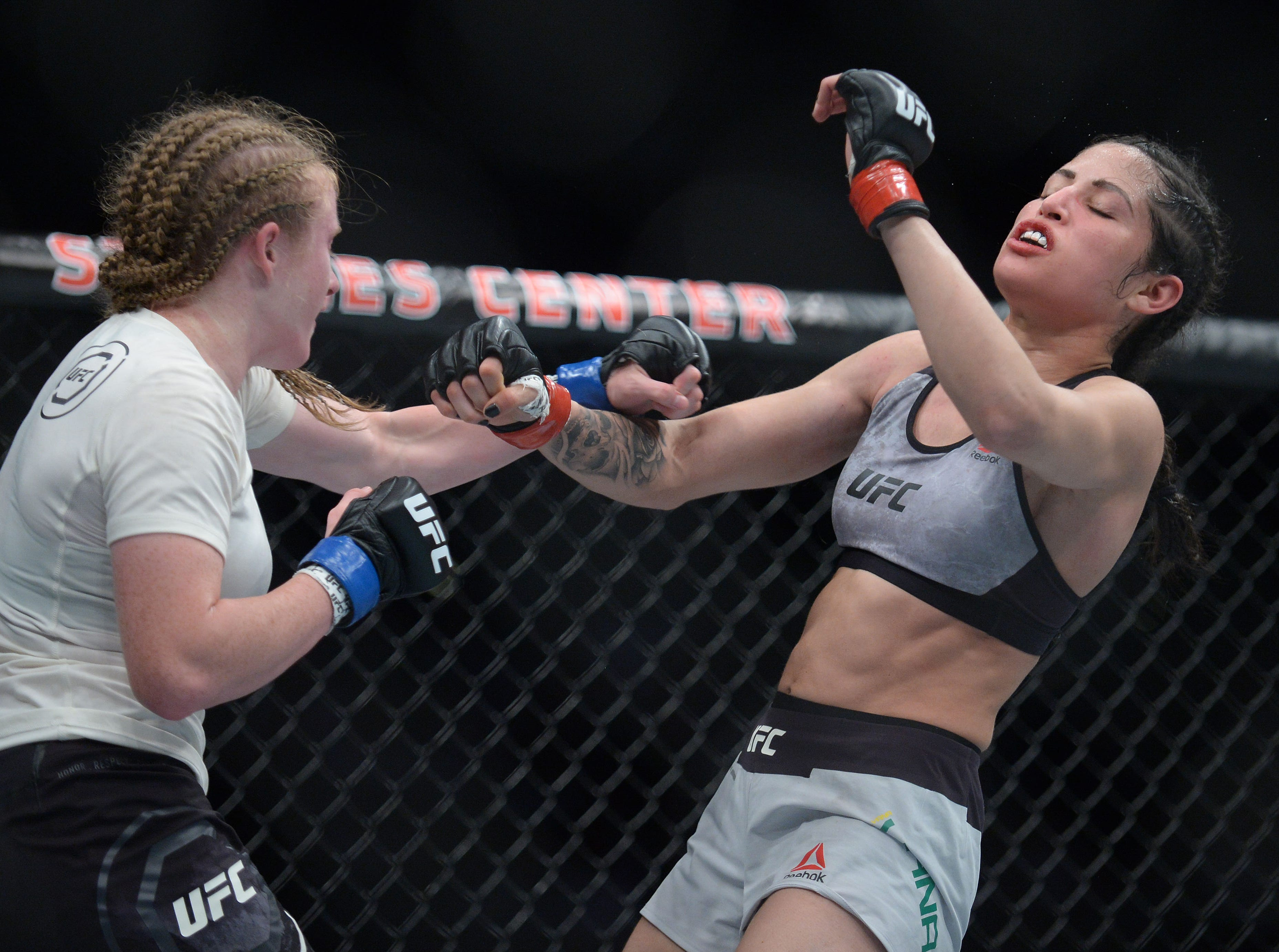 JJ Aldrich lands a hit against Polyana Viana during UFC 227 at Staples Center.
