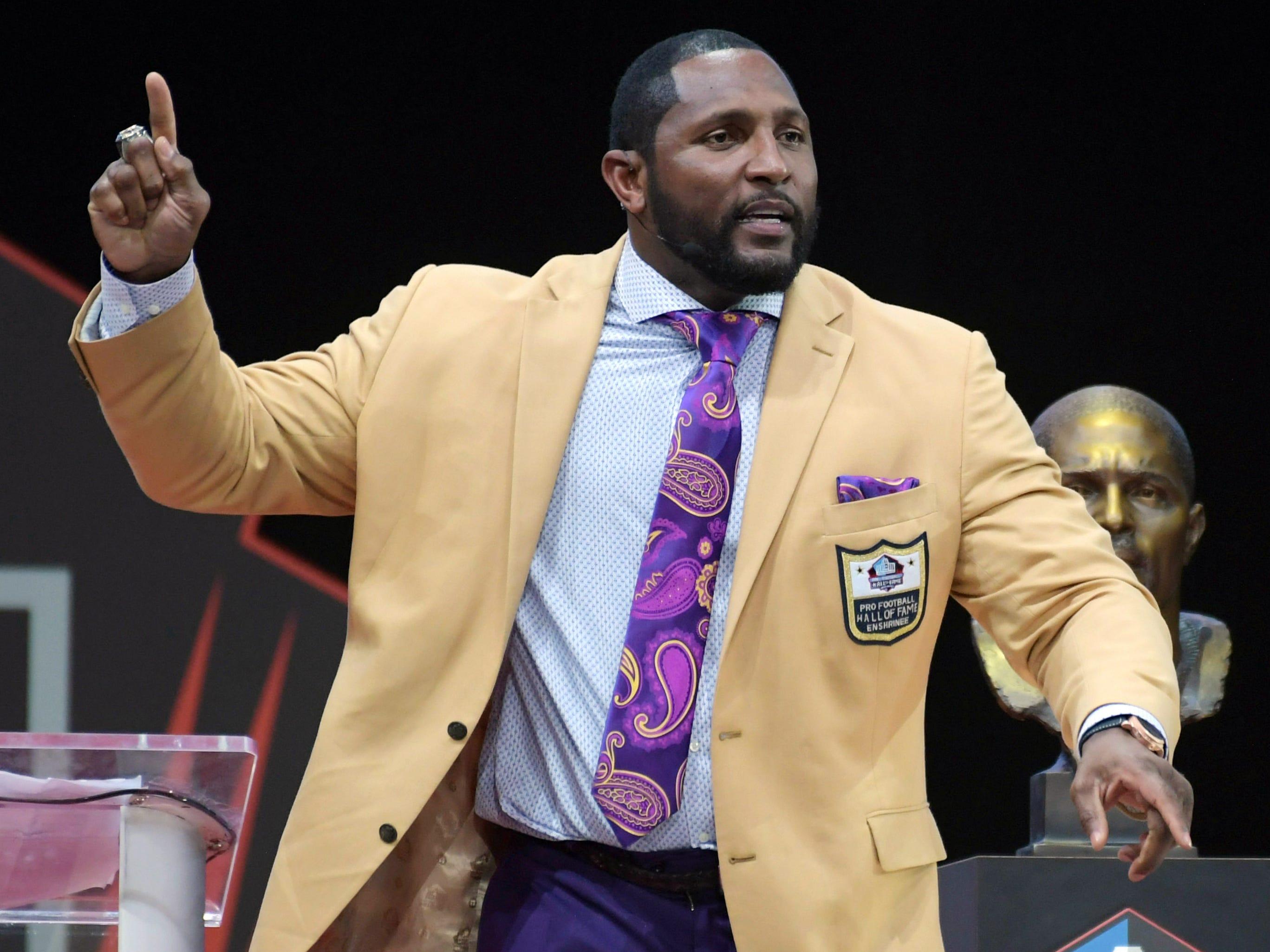 Former Baltimore Ravens linebacker Ray Lewis during the Pro Football Hall of Fame Enshrinement Ceremony at Tom Bensen Stadium.