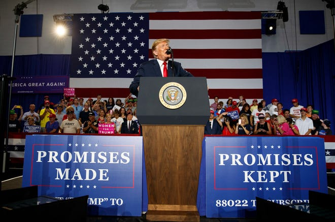 President Donald Trump at a rally at Olentangy Orange High School, Lewis Center, Ohio, Aug. 4, 2018.