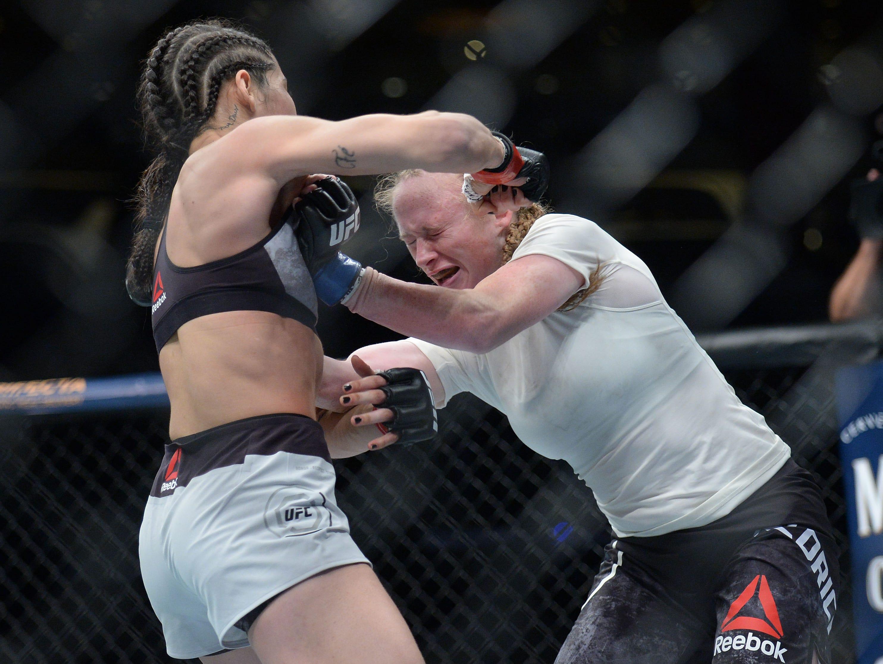 JJ Aldrich defends against Polyana Viana during UFC 227 at Staples Center.
