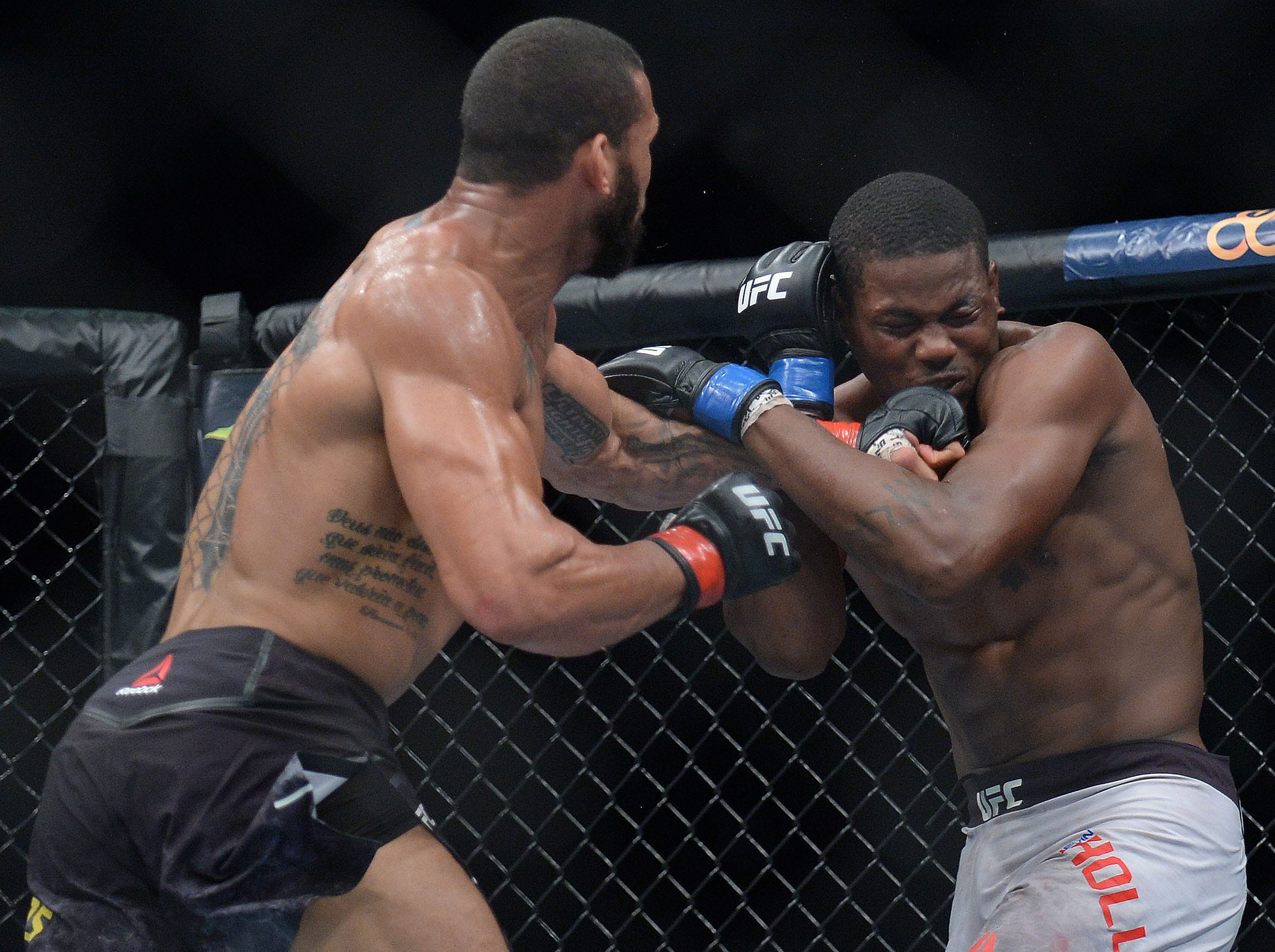 Thiago Santos moves in with a hit against Kevin Holland during UFC 227 at Staples Center.