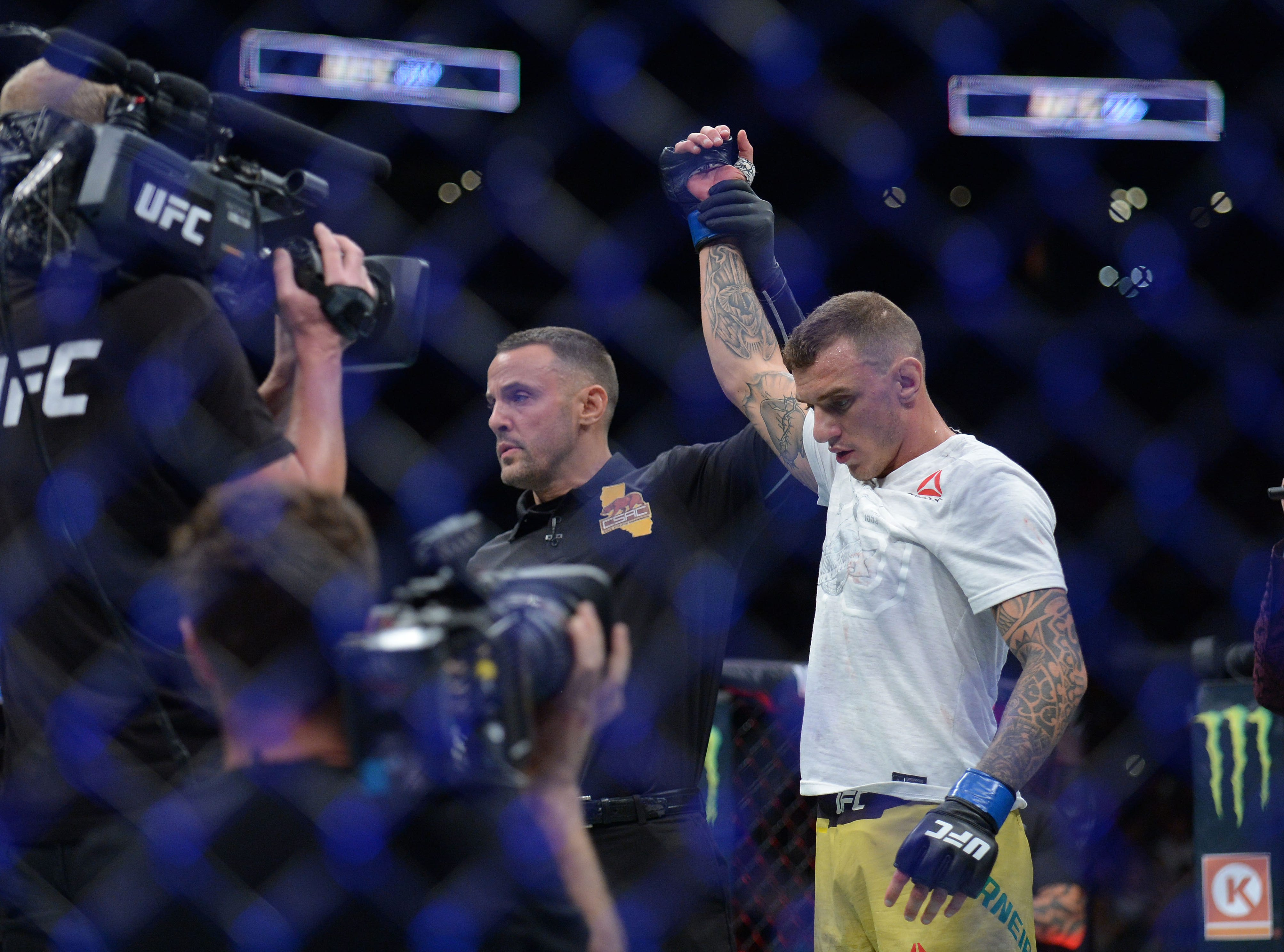 Renato Moicano is declared the winner by submission against Cub Swanson during UFC 227 at Staples Center.