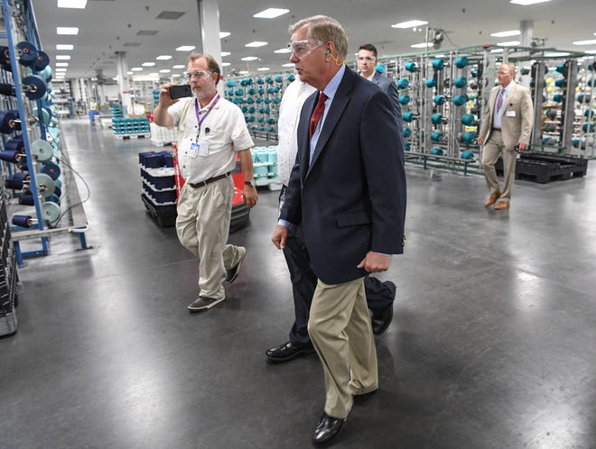 U.S. Sen. Lindsey Graham took a tour of the Glen Raven Sunbrella plant in Anderson on Aug. 6, 2018.
