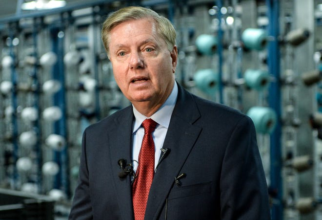 U.S. Sen. Lindsey Graham speaks about textiles and dealing with Turkey during his visit to Glen Raven Sunbrella in Anderson on Monday.