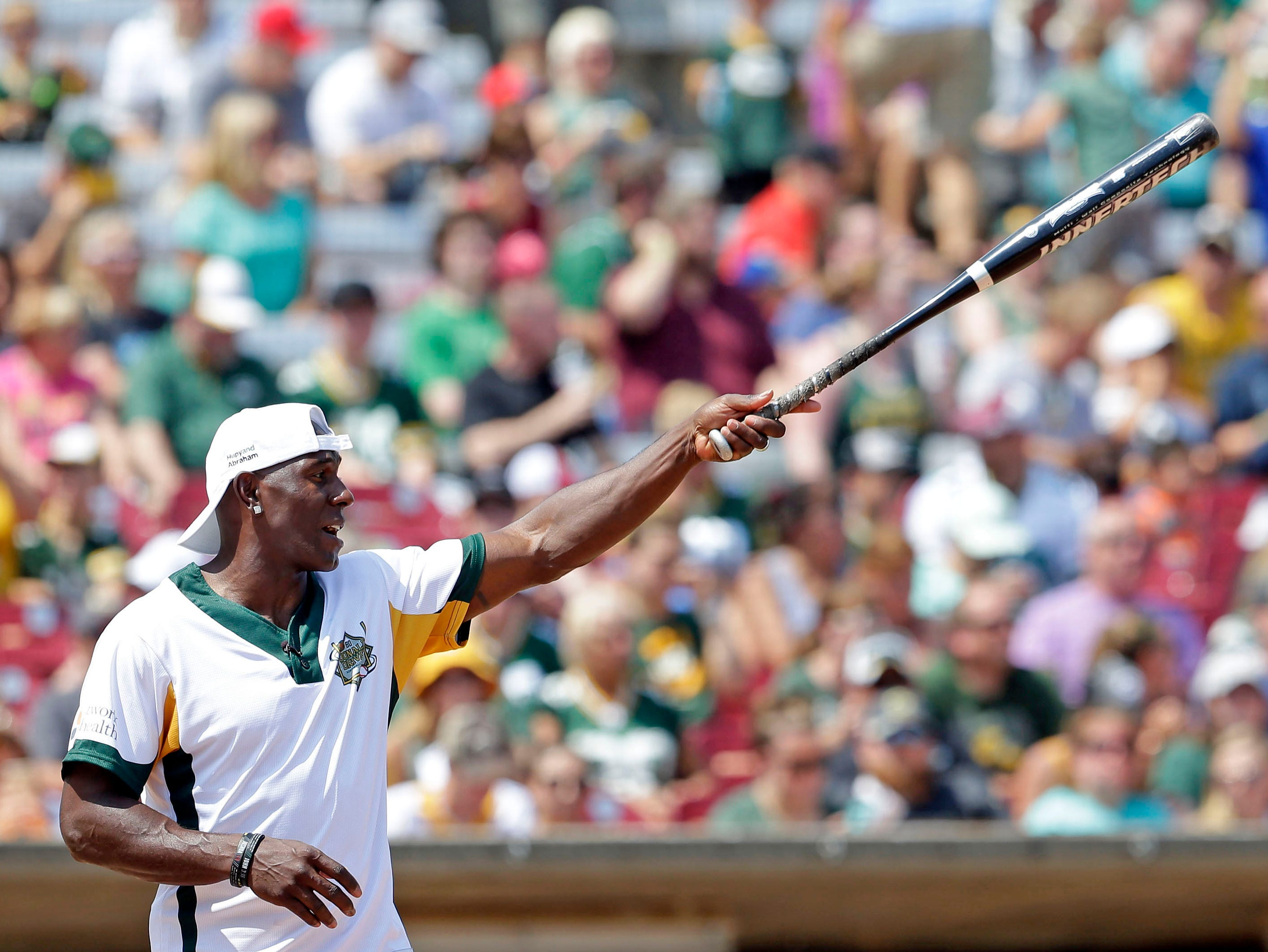 Donald Driver and a few of his friends gather for a charity softball game Sunday, August 5, 2018, at Neuroscience Group Field at Fox Cities Stadium in Grand Chute, Wis.