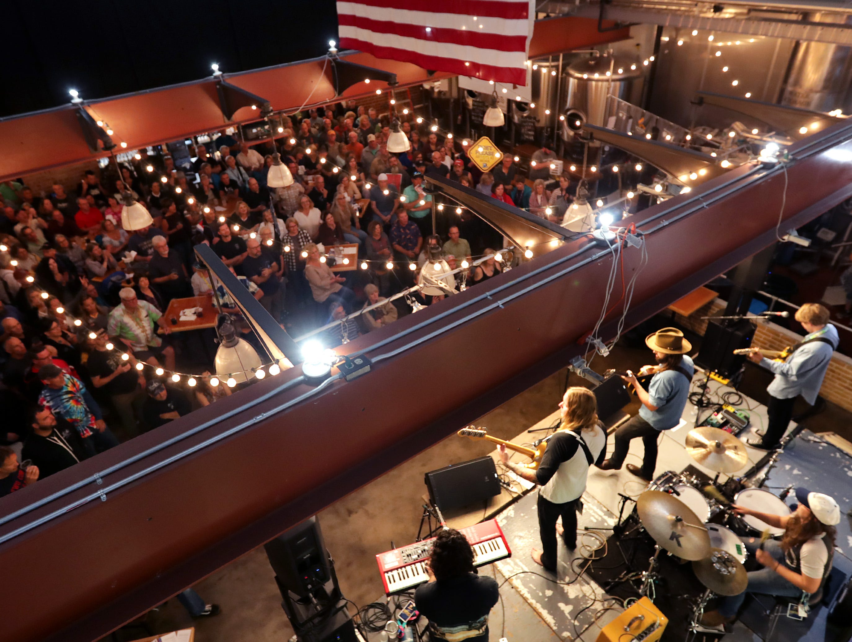 Caleb Caudle, performs in front of a packed house at the Appleton Beer Factory during the Mile of Music festival Thursday, August 2, 2018, in Appleton, Wis. 