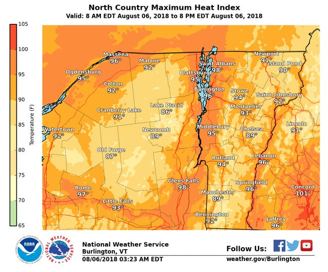 Heat indices (perceived temperatures, as measured with humidity) in the mid-to-high 90s are shown for Monday in this map created by the National Weather Service.