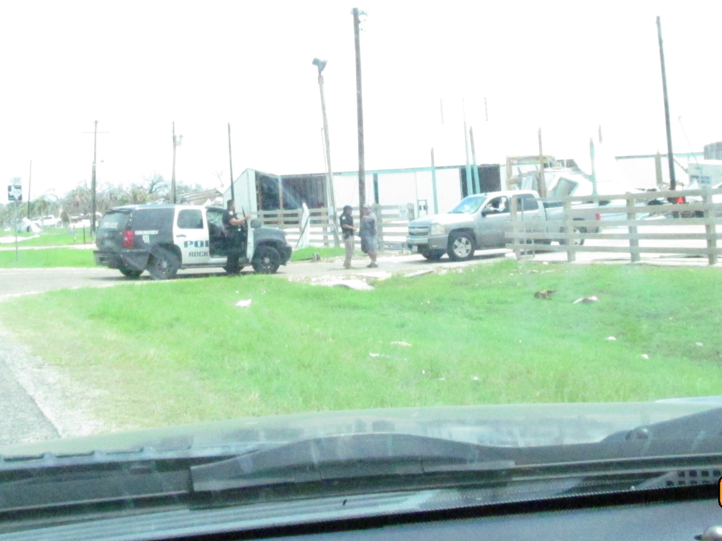 Corpus Christi Police Department Gang Unit officers helped Rockport police officers respond to calls and patrol the city after Hurricane Harvey devastated the area.