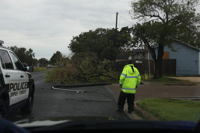 A Corpus Christi police officer blocks the Crosstown Expressway access road and assesses damage from a tree and electrical pole falling over after Hurricane Harvey.