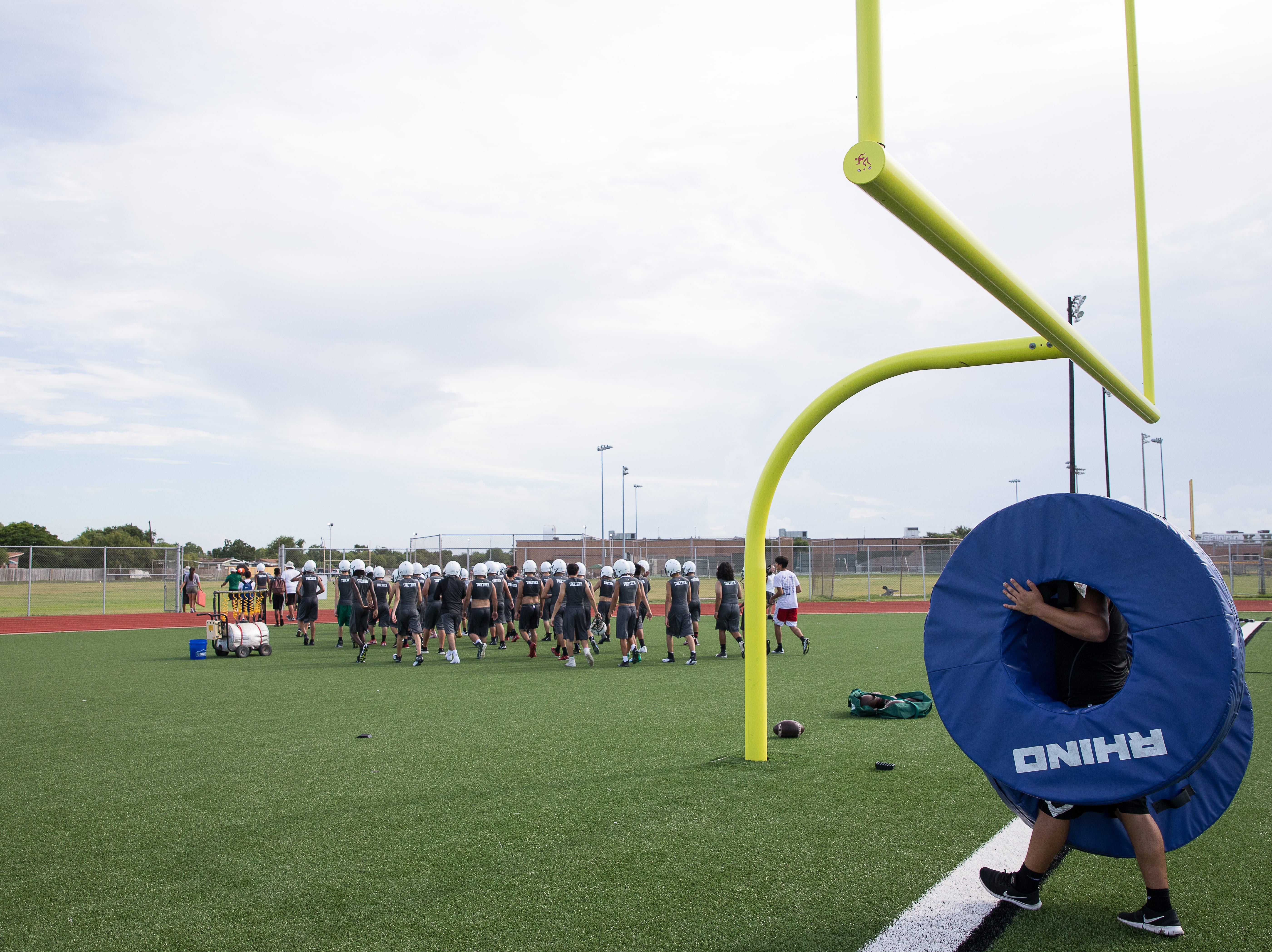 The first day of football practice for the 2018 season at King High School on Monday, Aug. 6, 2018.