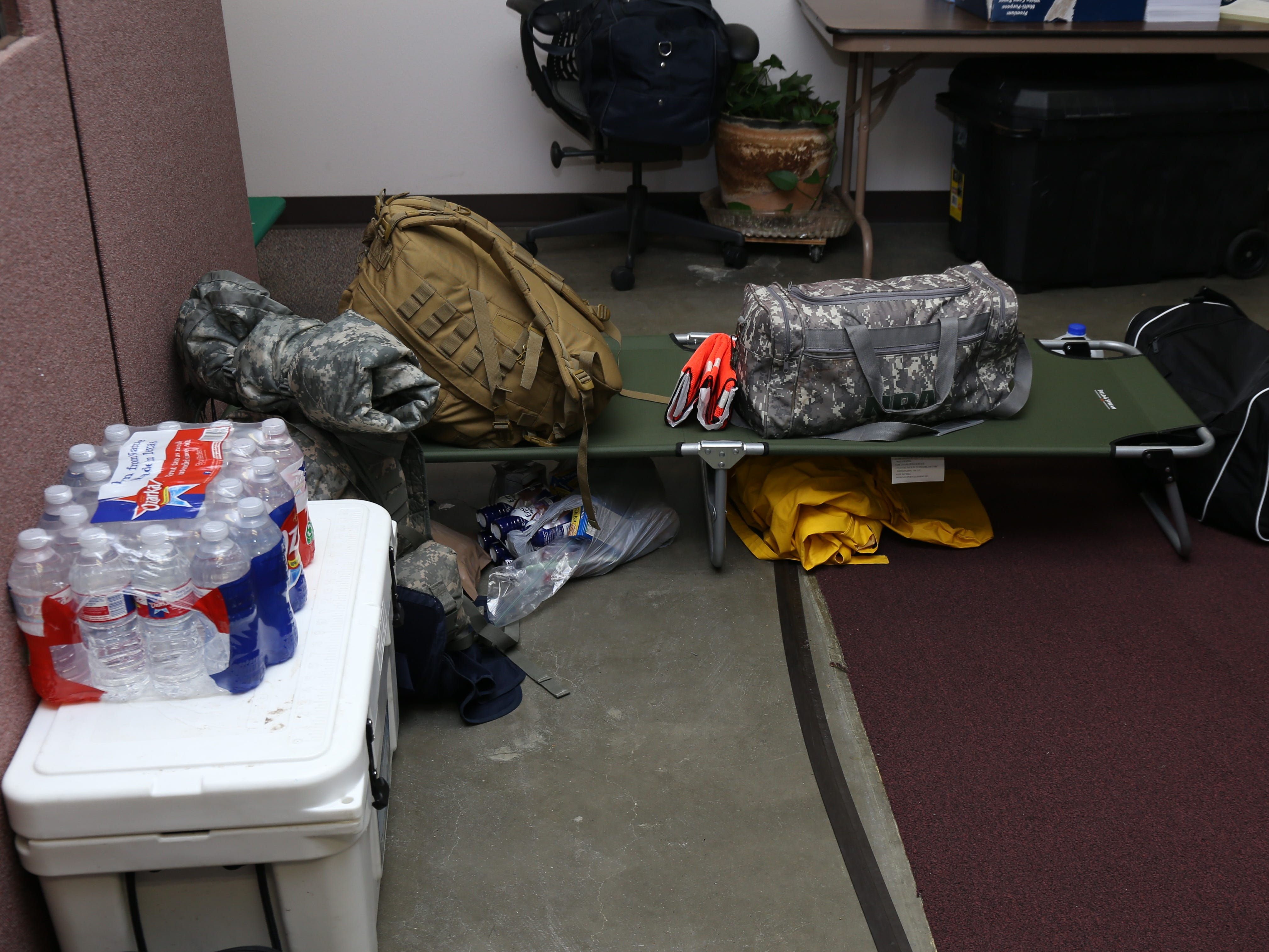 Corpus Christi police officers were provided with cots to sleep on while they sheltered in place as Hurricane Harvey made landfall on the Texas Coast on August 25, 2017.