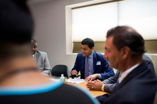 Health Commissioner Shereef Elnahal leads a roundtable discussion inside the John Brooks Recovery Center Monday, Aug. 6, 2018 in Pleasantville, N.J.