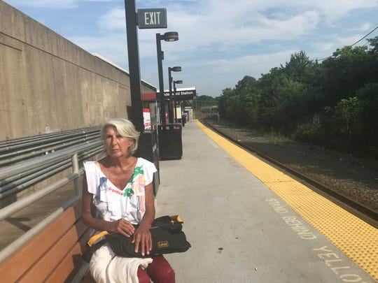 Norma Kramer waiting for her train at the Lindenwold NJ Transit Atlantic City Line