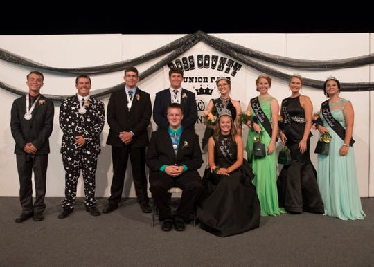 The 2018 Jr. Fair royalty court.  Front (left to right): King Justin Hall and Queen Hayley Clarkson. Back (left to right): king's fourth attendant Spencer Immel, king's third attendant Jonathan Cokonougher, king's second attendant Nicholas Naumovski,  king's  first attendant John Slater, queen's first attendant Emily Jones, queen's second attendant Bailey Lochbaum, queen's third attendant Grace Jones, queen's fourth Attendant Ashley Jones