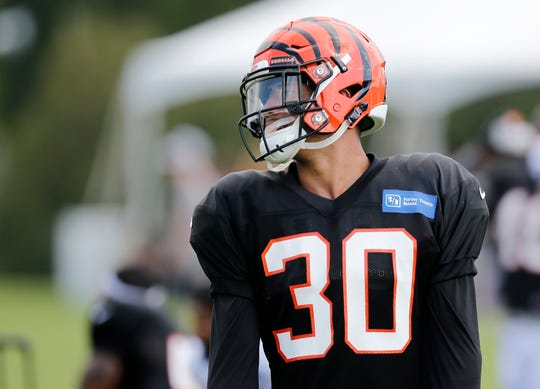 Cincinnati Bengals defensive back Jessie Bates (30) lines up in a special teams drill during a training camp practice at the Paul Brown Stadium training facility in downtown Cincinnati on Monday, Aug. 6, 2018.