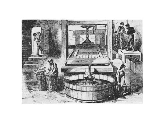 An etching of Longworth's Wine Press.