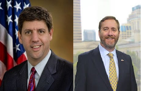 Steven Dettelbach (left) and Dave Yost (right) are the candidates for Ohio Attorney General.