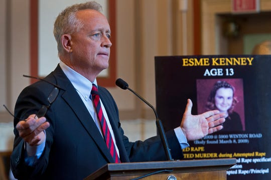 "Hamilton County prosecutor Joe Deters makes a point during closing arguments. He said, ""These four girls, they never had a chance. He had every chance in the world."""