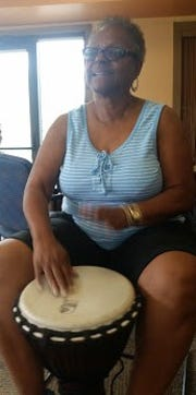 Quail Brook Senior Center Manager, Allyson Toth, welcomed 38 guests including Franklin Woman's Club members, to a drumming event, which has a lot of health benefits.