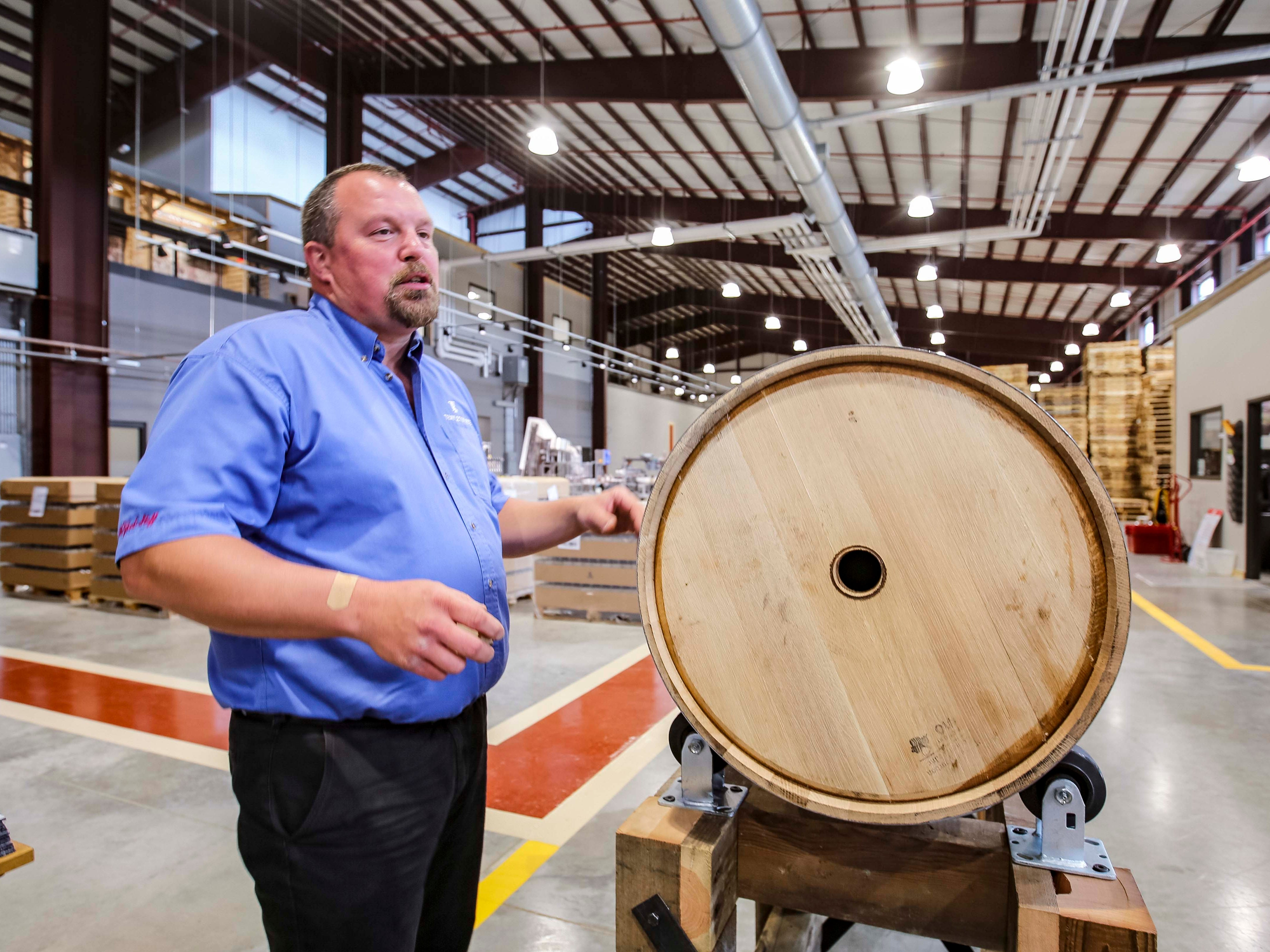 Lester Brown, distiller manager for Templeton Rye in their new $35 million distillery in Templeton, Iowa, shown here Monday, Aug. 6, 2018, featuring a museum and visitor's center.