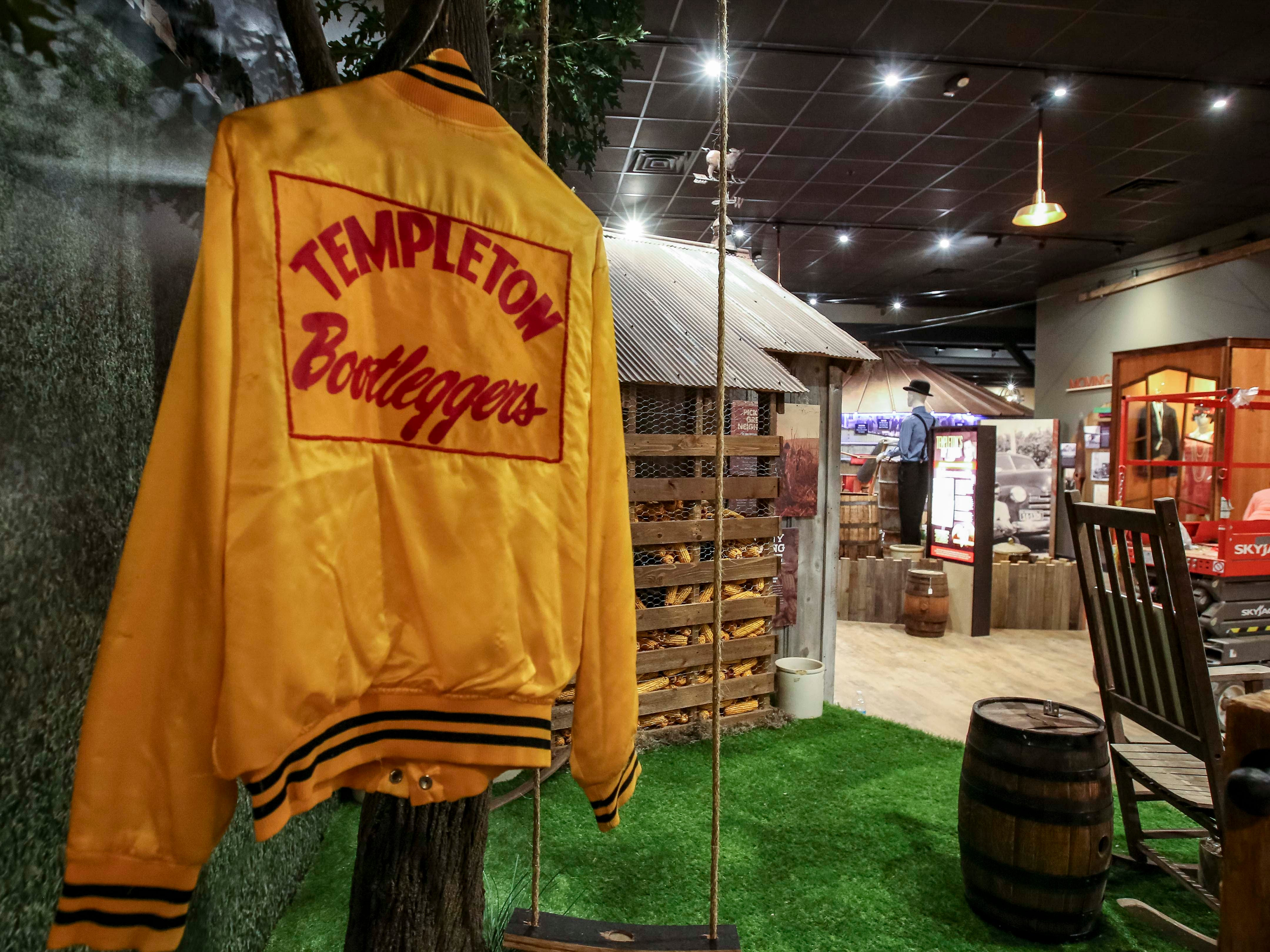 Templeton Bootleggers athletic jacket in the new $35 million distillery and welcome center in Templeton, Iowa, shown here Monday, Aug. 6, 2018