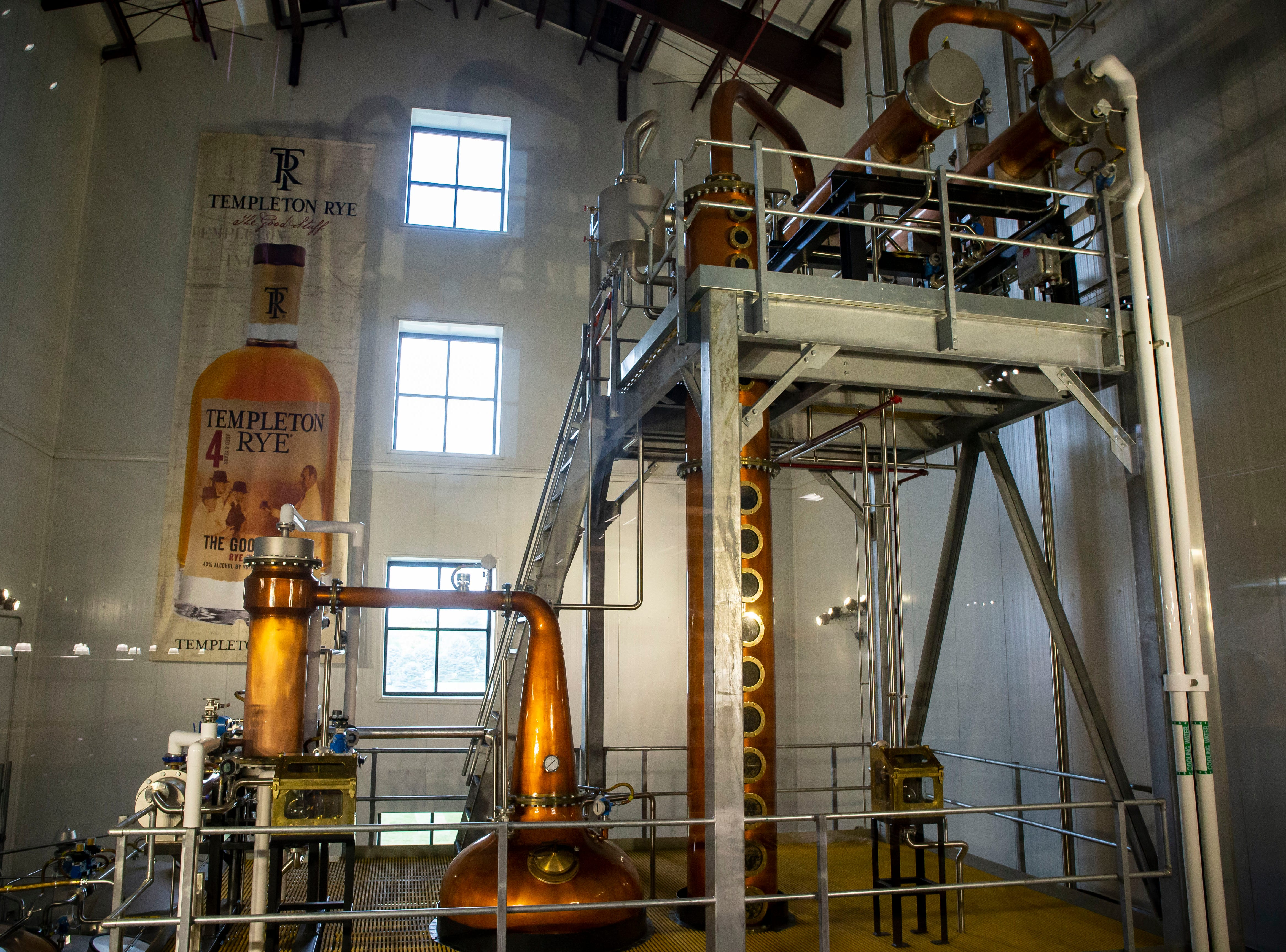 The distilling room at Templeton Rye in their new $35 million distillery in Templeton, Iowa, shown here Monday, Aug. 6, 2018.