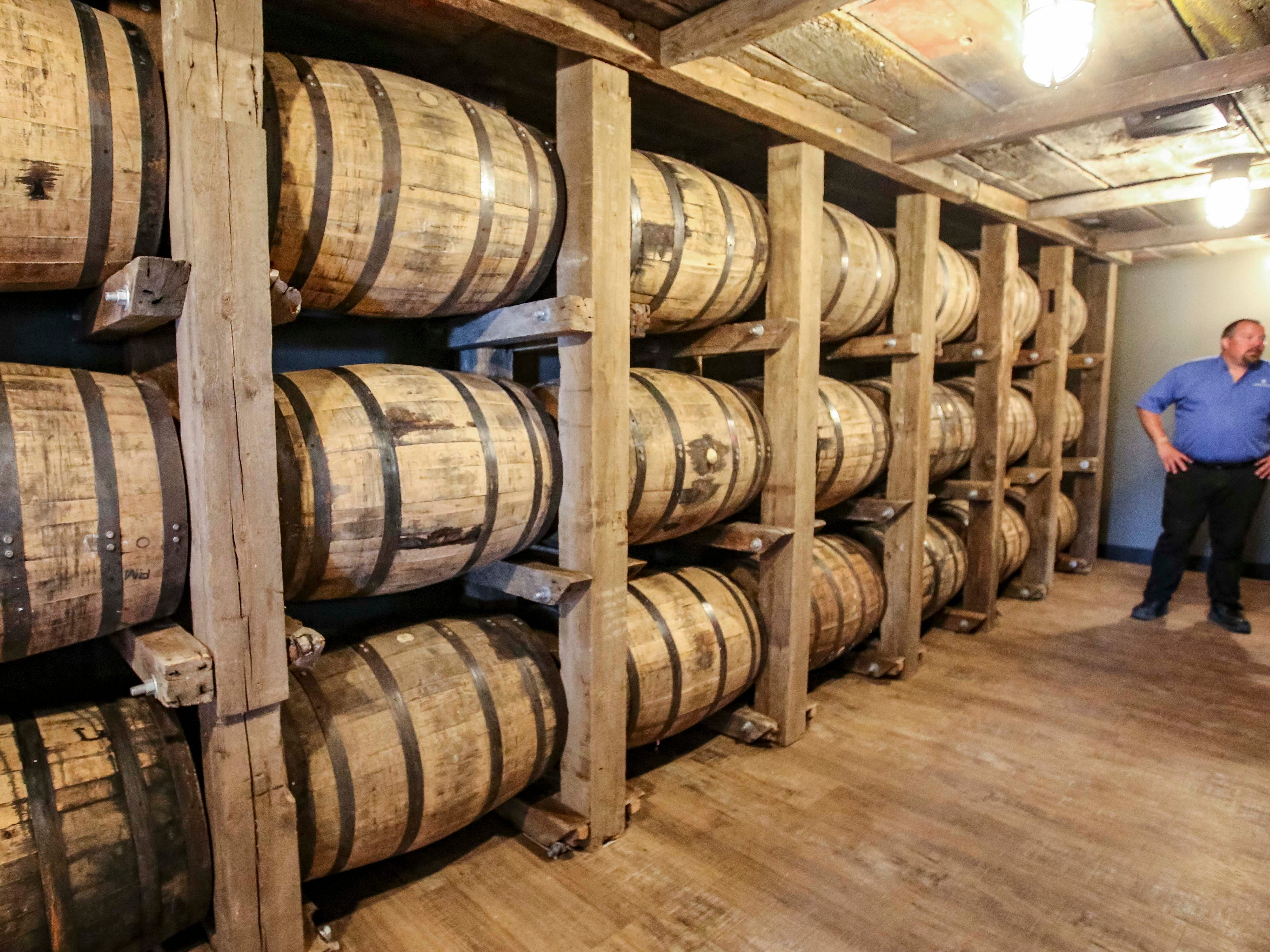 Display of aging barrels for Templeton Rye in Templeton, Iowa, shown here Monday, Aug. 6, 2018.