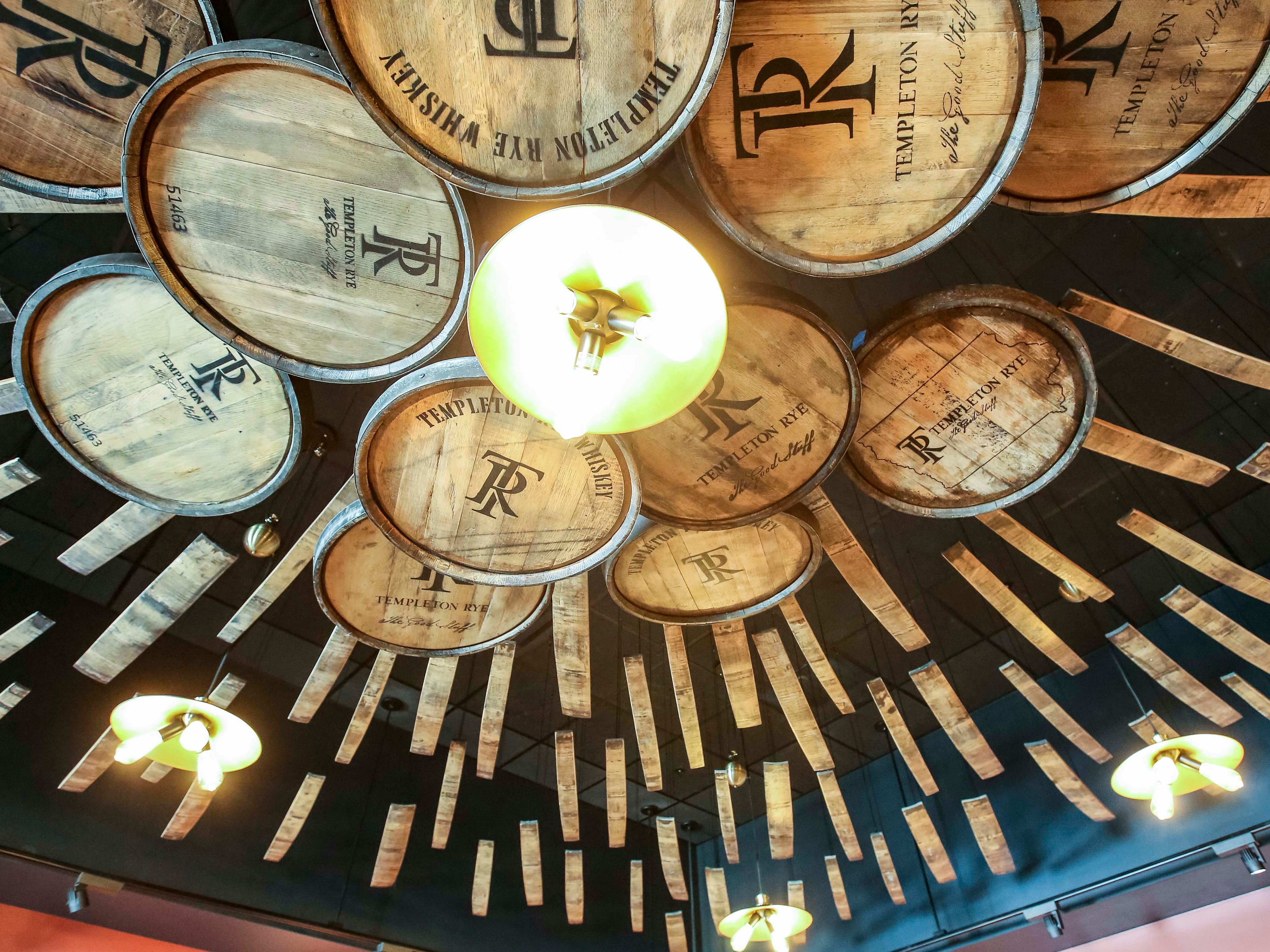 Display in the gift shop using aging barrels for Templeton Rye in Templeton, Iowa, shown here Monday, Aug. 6, 2018.