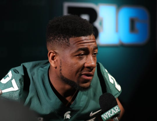Michigan State safety Khari Willis talks with reporters about the upcoming season on Monday, Aug. 6, 2018, in East Lansing.