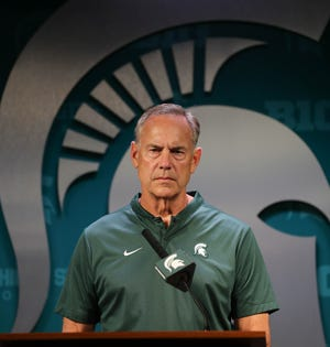 MSU head coach Mark Dantonio talks with reporters about the upcomming season Monday, August 6, 2018, at Spartan Stadium in East Lansing, Mich.