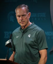 Michigan State coach Mark Dantonio talks with reporters about the upcoming season on Monday, Aug. 6, 2018, in East Lansing.