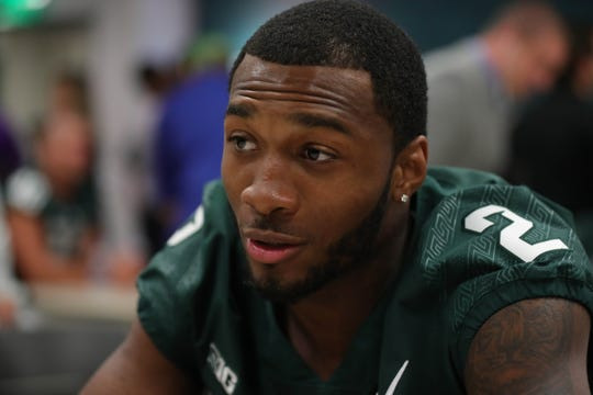 Michigan State cornerback Justin Layne talks with reporters about the upcoming season on Monday, Aug. 6, 2018, in East Lansing.