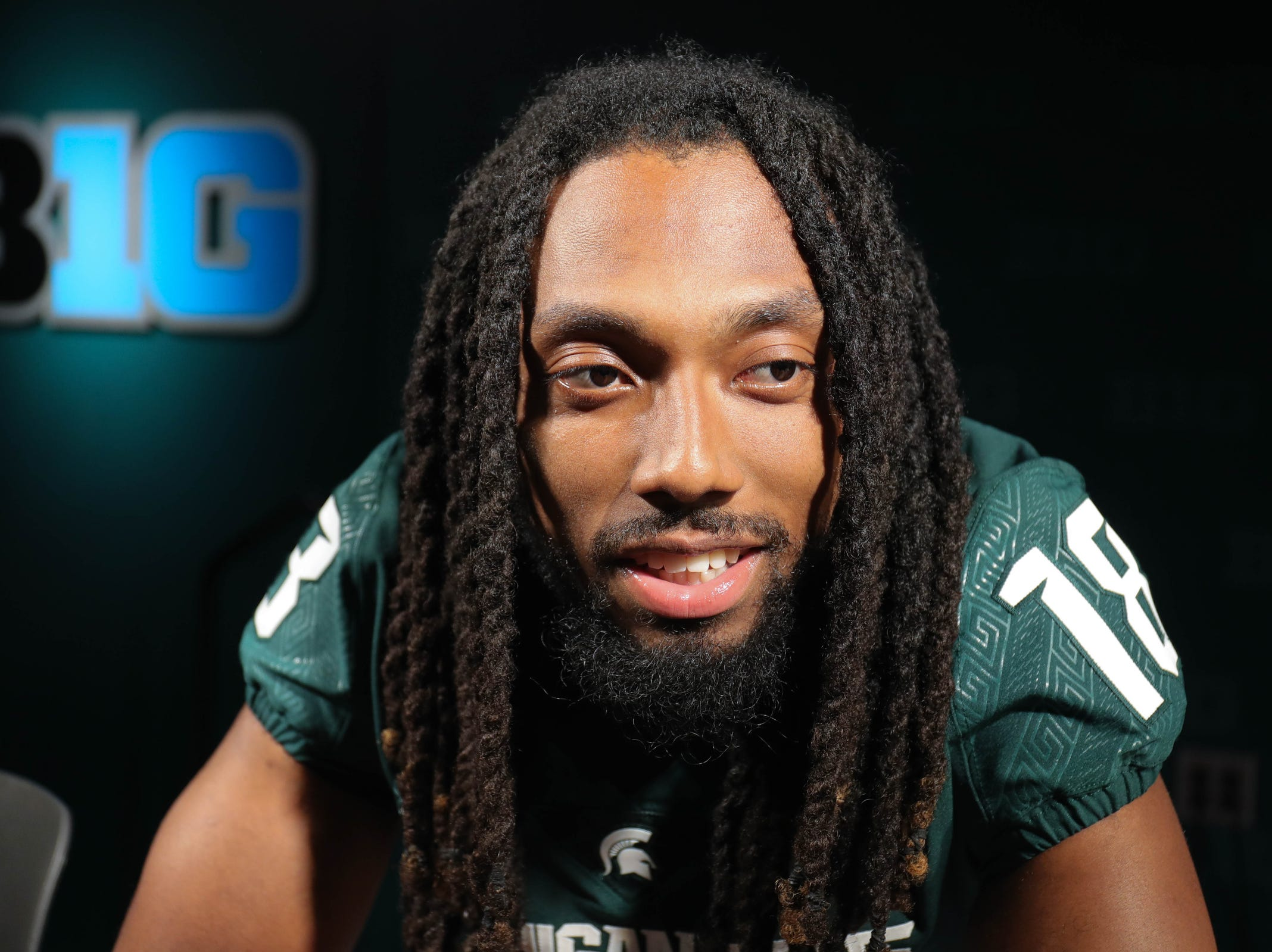 Michigan State receiver Felton Davis III talks with reporters about the upcoming season on Monday, Aug. 6, 2018, in East Lansing.