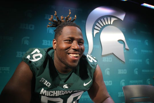 Michigan State defensive tackle Raequan Willams talks with reporters about the upcomming season Monday, August 6, 2018, at Spartan Stadium in East Lansing, Mich.