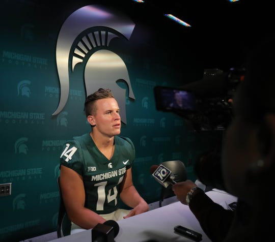 Michigan State quarterback Brian Lewerke talks with reporters about the upcoming season on Monday, Aug. 6, 2018, in East Lansing.