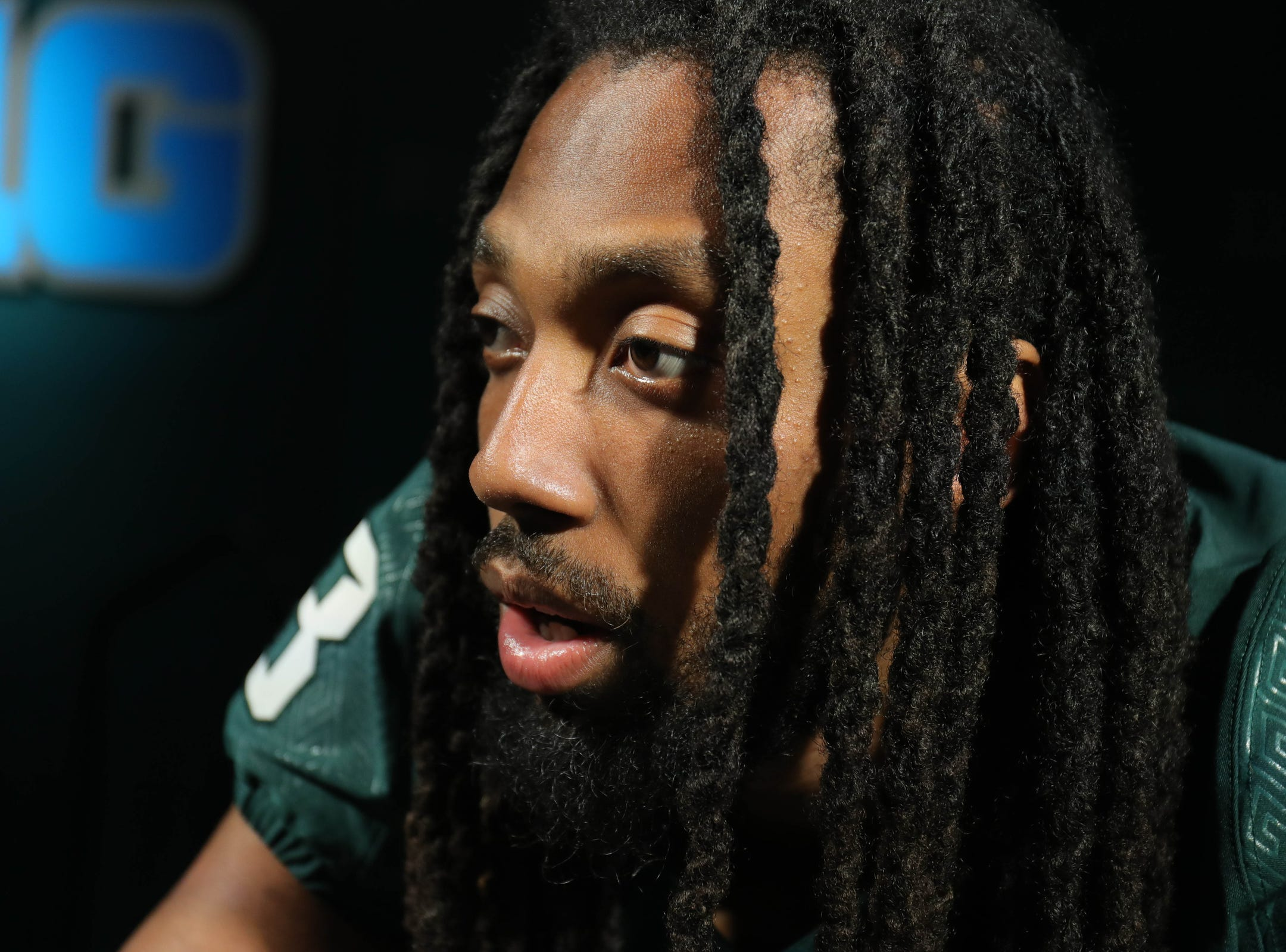 MSU reciever Felton Davis III talks with reporters about the upcomming season Monday, August 6, 2018, at Spartan Stadium in East Lansing, Mich.