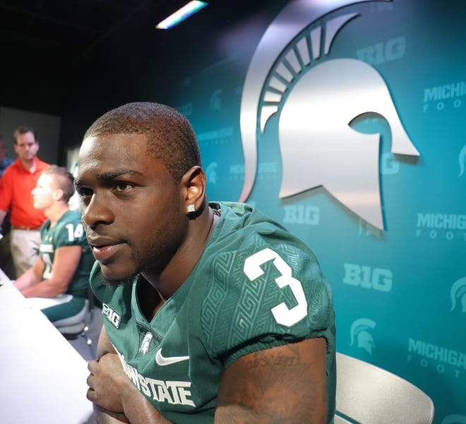 MSU running back LJ Scott talks with reporters about the upcomming season Monday, August 6, 2018, at Spartan Stadium in East Lansing, Mich.