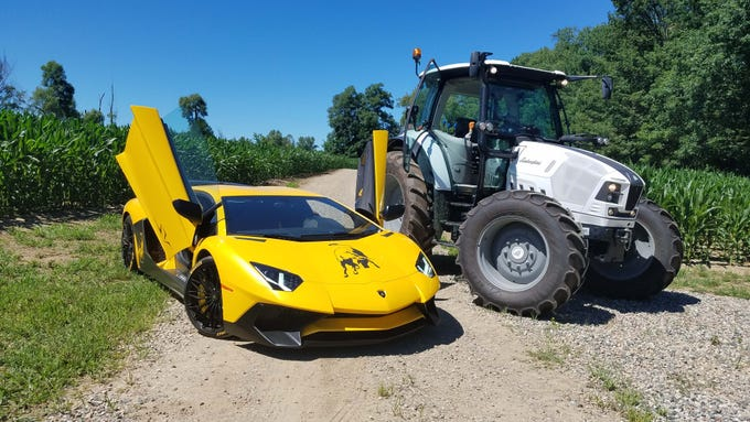 Siblings. The 740-horsepower Lamborghini Aventador supercar, left, poses with the 127-horse Lamborghini Nitro farm tractor in the cornfields of Metamora. The $493,000 Lamborghini Aventador is a legend with its F-22 fighter-inspired front air intakes. The 146,000 Lamborghini Nitro 130 T4i is a tractor valued in the agriculture community for its sleek looks and smooth performance.