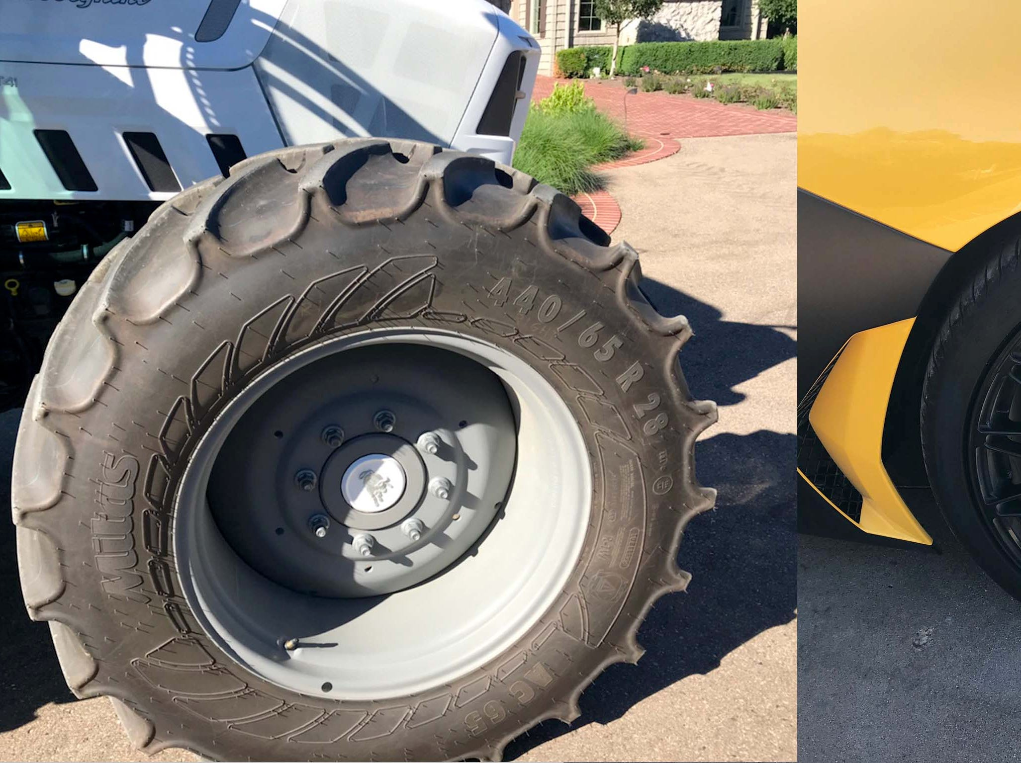 The 28-inch tall-by-14-inch wide Lamborghini Aventador rear tires, right, are huge, but they're dwarfed by the Nitro tractor's 40-inch x 17.3-inch rears that anchor a sophisticated, 4WD air suspension.