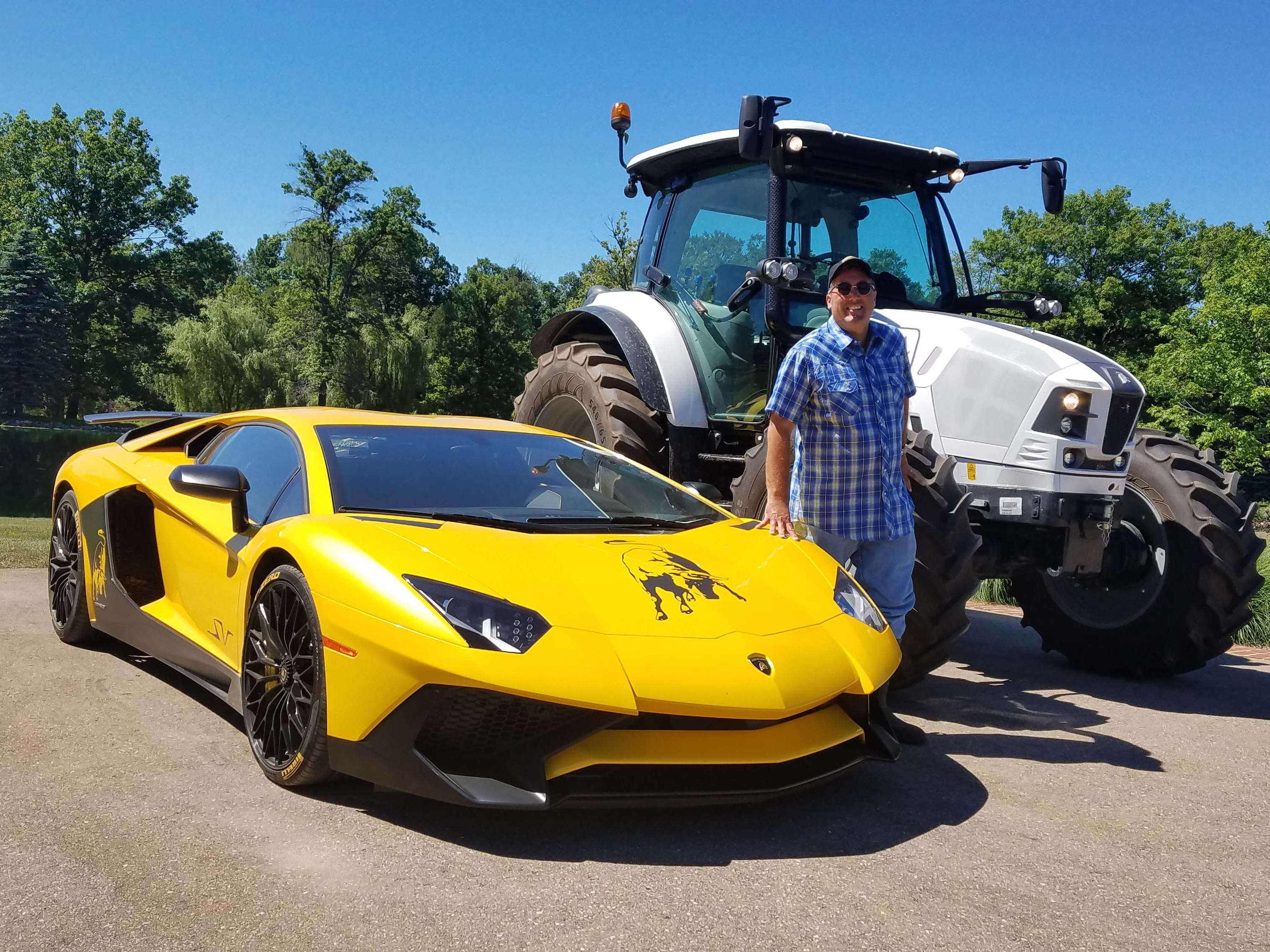 Detroit media entrepreneur Kevin Adell has one of the country's most eclectic vehicle collections. Included in his garage is a rare pair of Lamborghinis: the Aventador SV and the Nitro 130 T4i tractor.