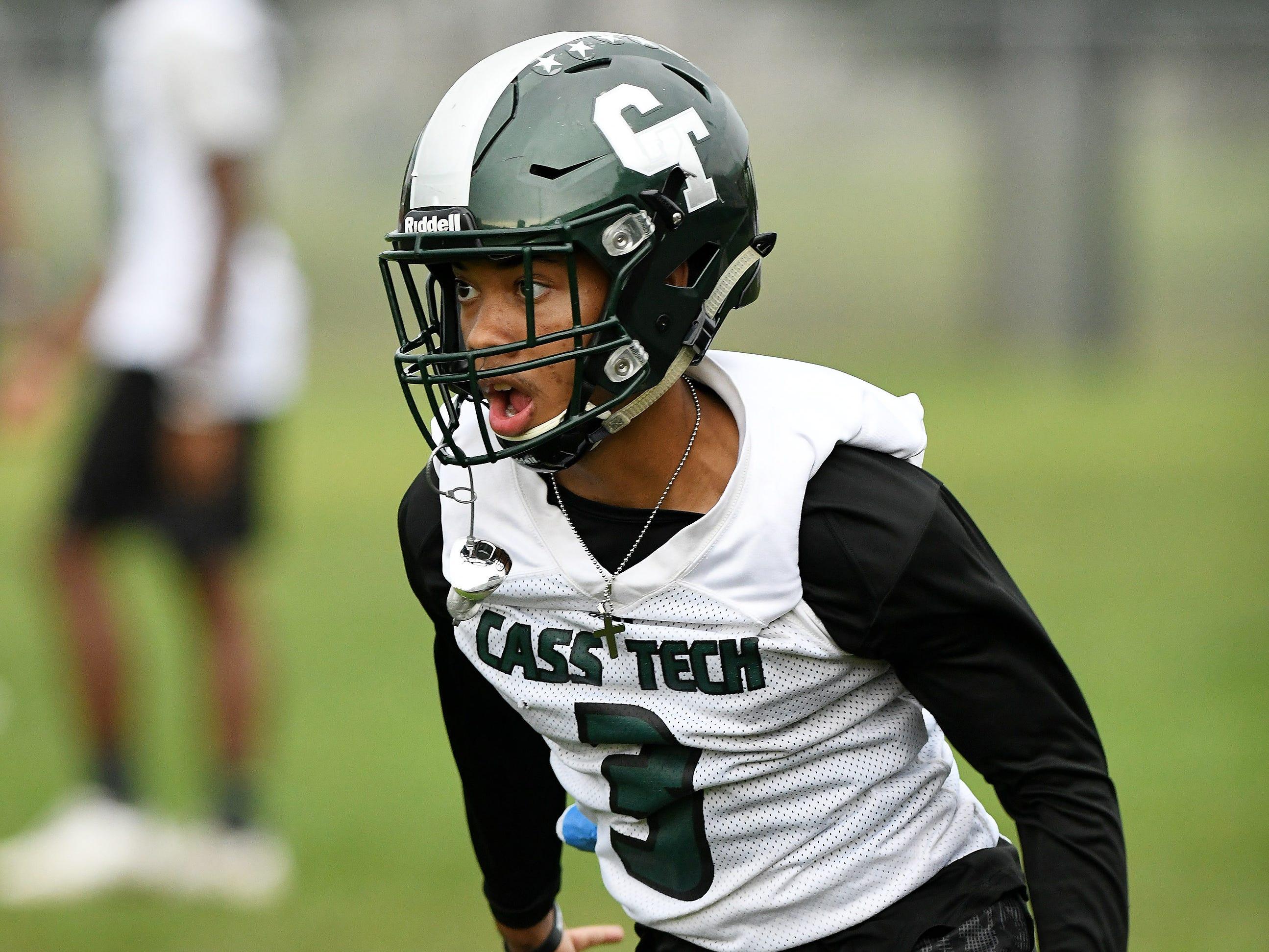 Corner back Xavier Goldsmith runs during special teams drills at football practice.