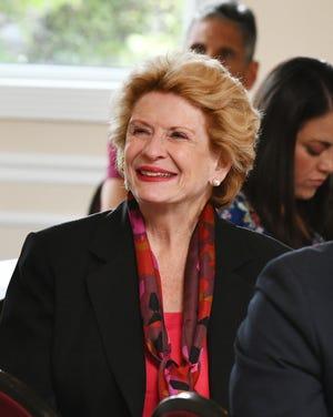 U.S. Sen. Debbie Stabenow listens during the Mound Road press conference.
