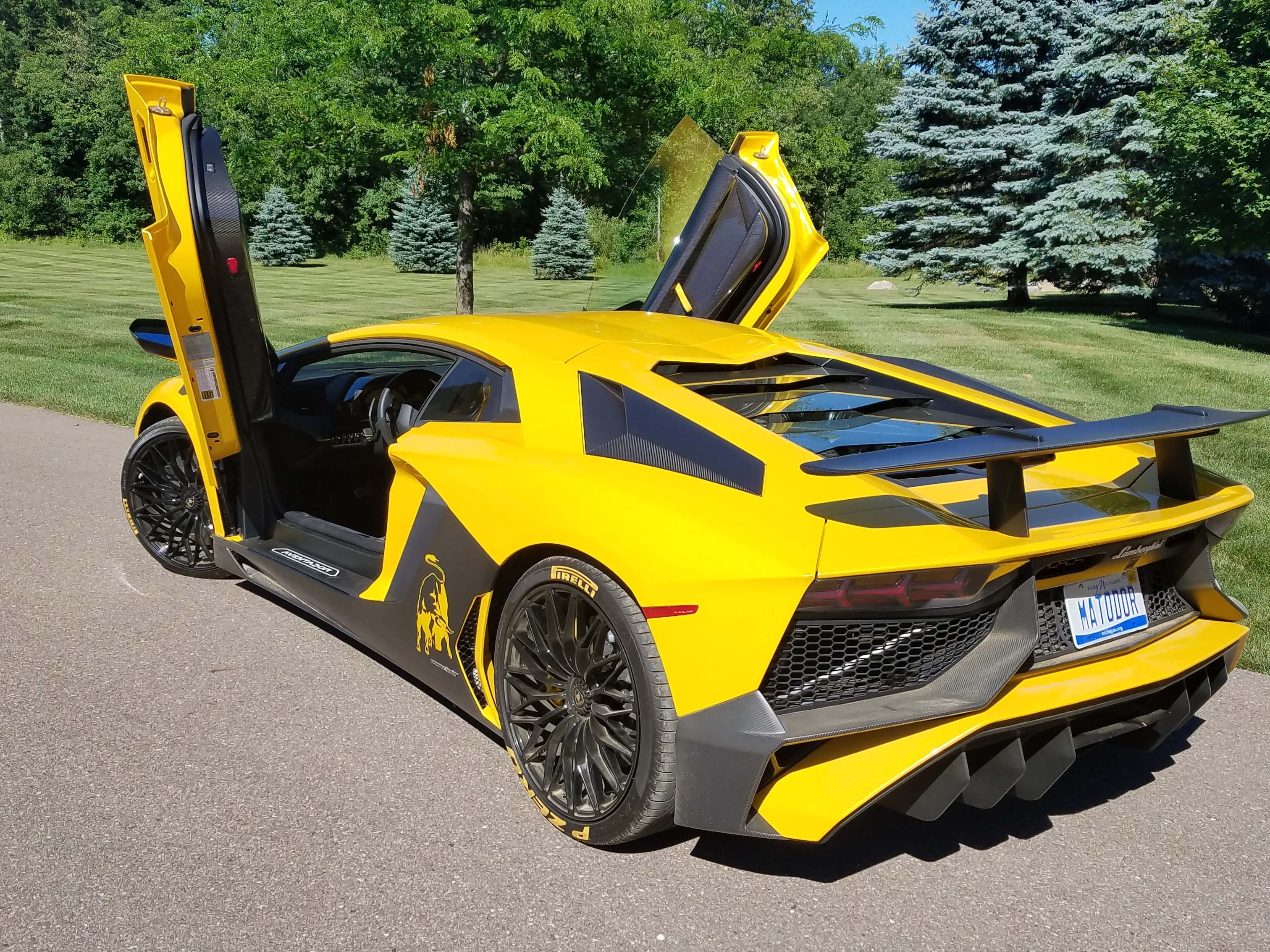 Shoe-horn, please. With its high carbon door sills, scissor doors and low-slung seats, the Lamborghini Aventador SV is not easy to get into . . . or out of.