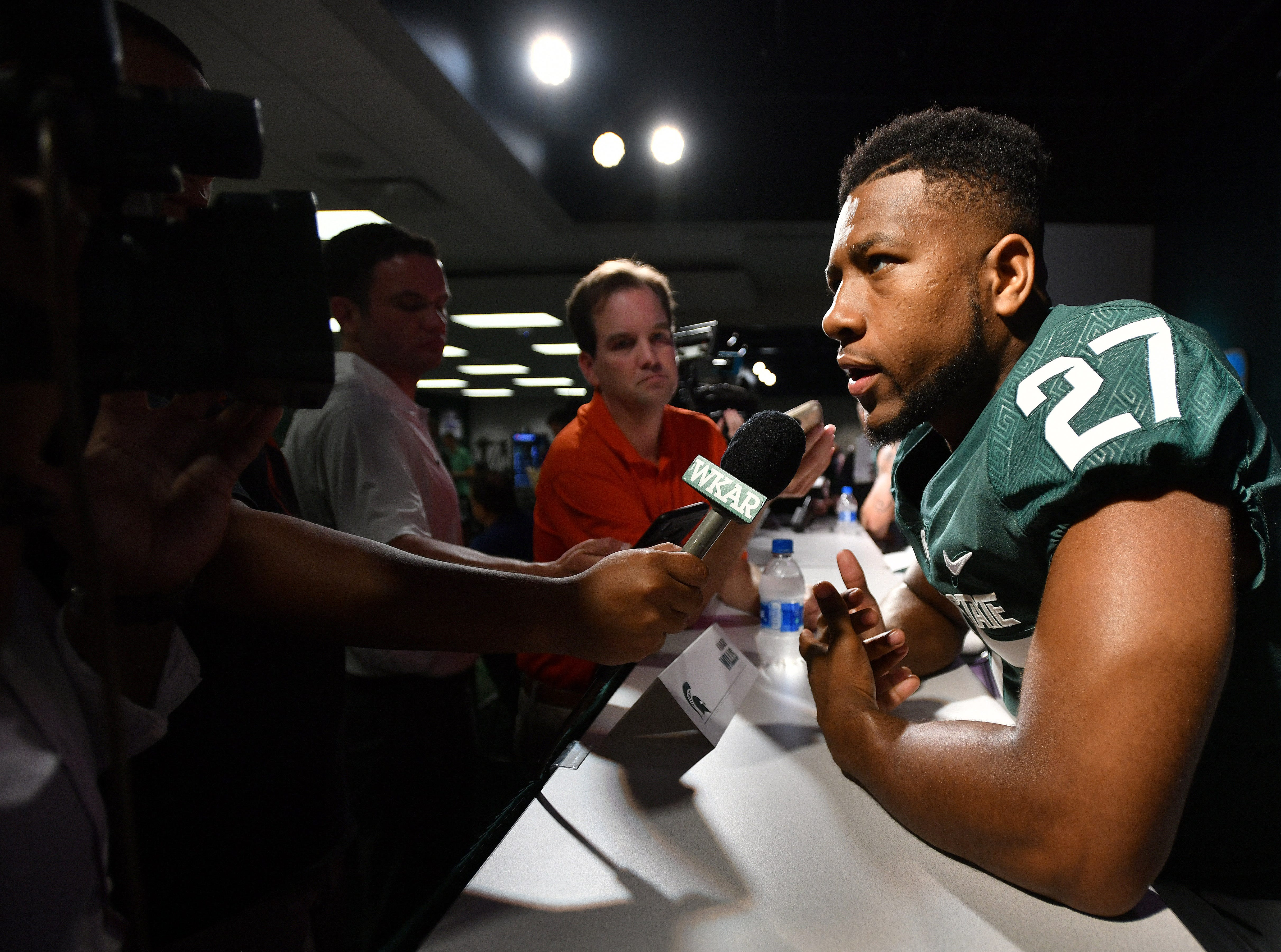 Michigan State safety Khari Willis fields questions from reporters.