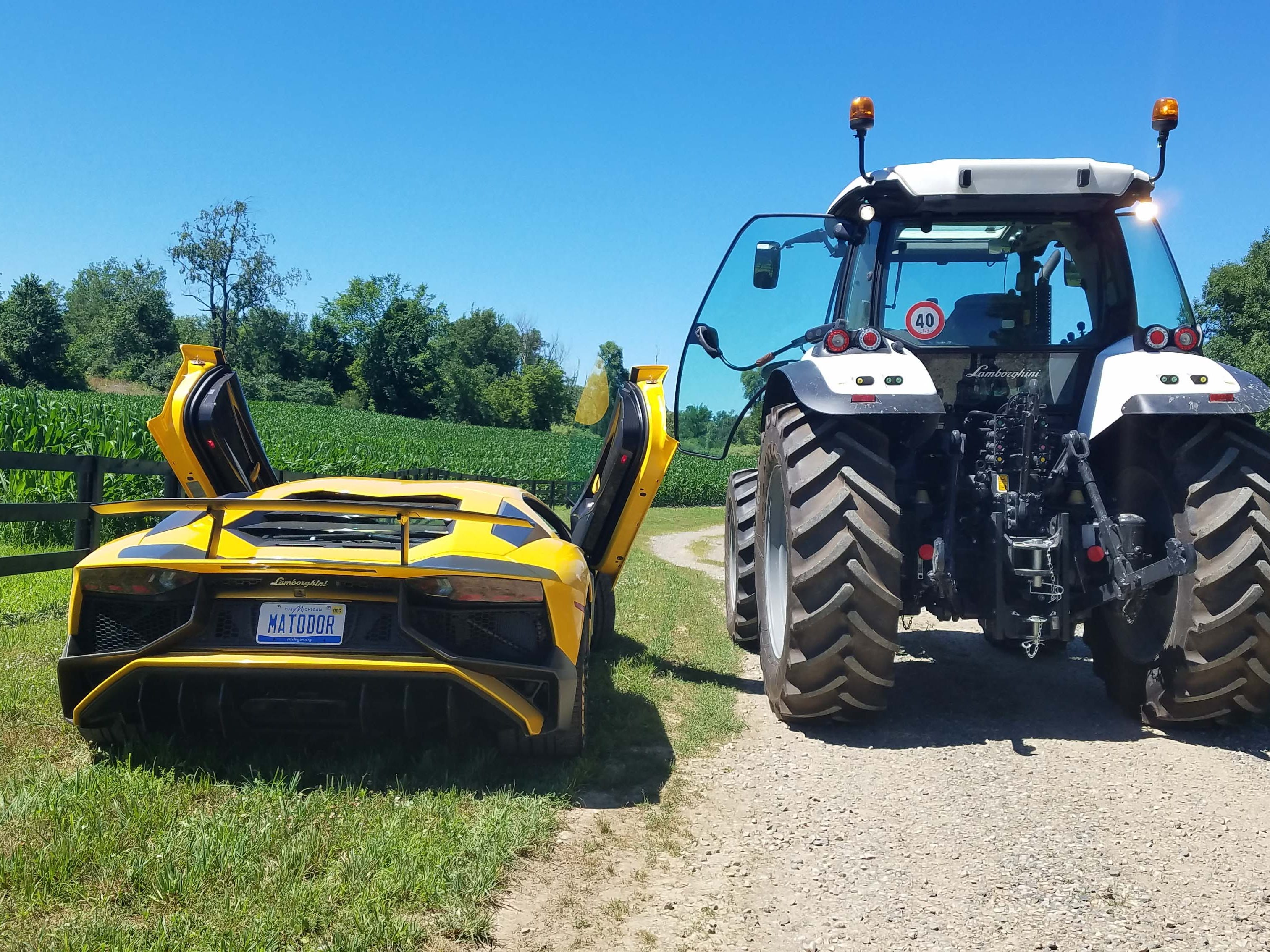 AWD Italians. The Lamborghini Aventador SV tips the scales at about 4,000 pounds; the Lamborghini Nitro tractor weighs in at 11,000 pounds.