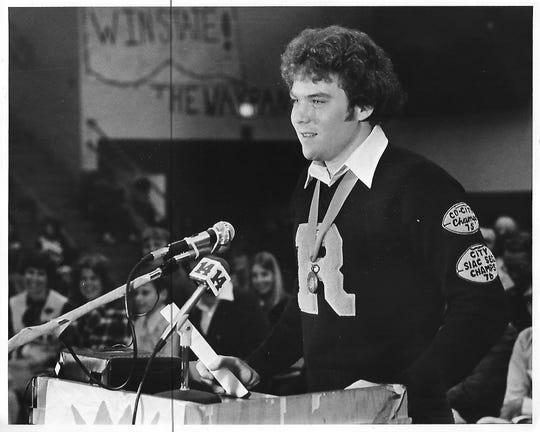 Bob Stephenson, Reitz High School class of 1978, at a 1977 pep rally.
