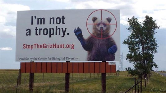 Stop the grizzly bear hunt billboard