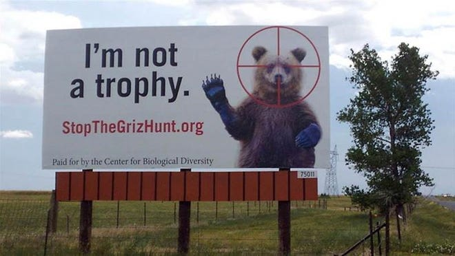 A billboard near the Colorado and Wyoming boarder advocates for the protection of grizzly bears near Yellowstone National Park and in Idaho.