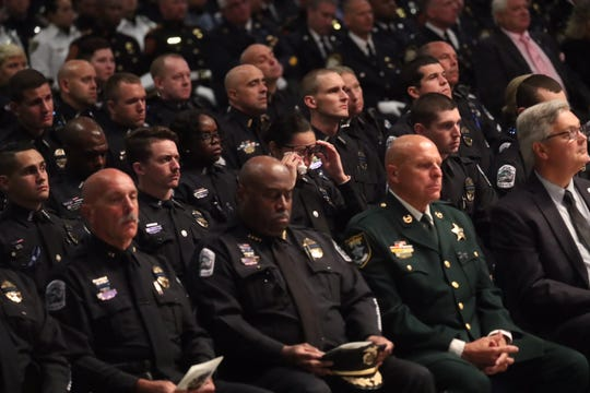 Funeral services for fallen Fort Myers police officer Adam Jobbers-Miller at Germain Arena.